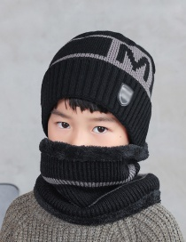 Fashion Children Black Knitted Woolen Hat With Fleece And Warm Letters