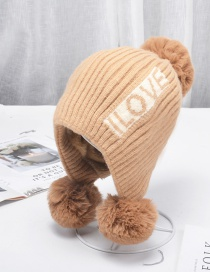 Fashion Khaki Letters Plus Velvet Thick Windproof Wool Ball Knitted Hat