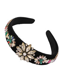 Fashion Yellow Broad-brimmed Headband With Diamonds Pearls Flowers And Fabric