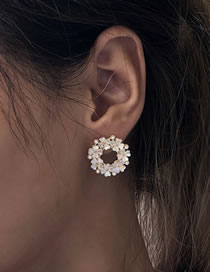 Fashion Light Pink Resin Flower Pearl Round Earrings