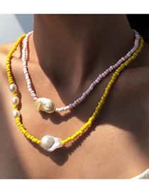 Fashion Yellow Pearl Geometric Rice Beads Multilayer Necklace