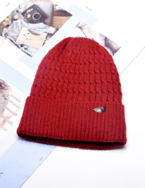 Fashion Wine Red Mens Wool Knitted Hat With Metal Standard Thick Wool