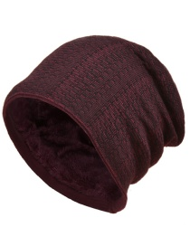 Fashion Wine Red Two-tone Knit And Cashmere Mens Woolen Hat