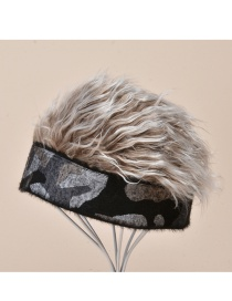 Fashion Gray Camouflage With Coffee Color Printed Plush Wig Hat