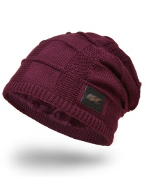 Fashion Wine Red Knitted Plus Velvet Metal Small Standard Mens Woolen Hat