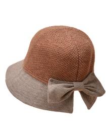 Fashion Caramel Cashmere Stitching Bow Fisherman Hat