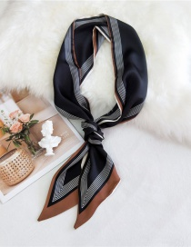 Fashion Thin Line Frame Black Double-sided Bevel Printed Satin Knotted Small Silk Scarf