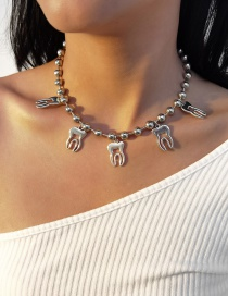 Fashion White K Round Bead Chain Alloy Teeth Hollow Necklace