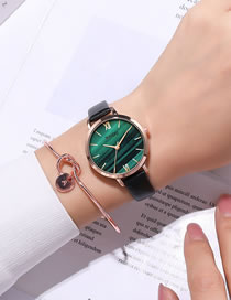 Fashion Green Noodles Marble Surface Pu Thin Belt Quartz Watch