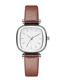 Fashion Brown Tonneau Shaped Pu Belt Quartz Watch