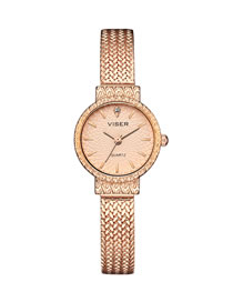 Fashion Rose Gold Noodles Waterproof Strap Quartz Bracelet Watch With Chain Subdial