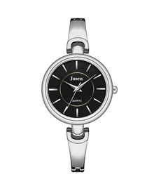 Fashion Silver With Black Face Thin Steel Band Ol Strip Nail Face Quartz Steel Band Watch