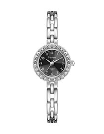 Fashion Silver With Black Face Thin Strap Diamond Digital Face Bracelet Watch