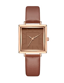 Fashion Brown Square Pu Belt Quartz Watch