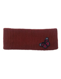 Fashion Wine Red Butterfly Knitted Wool Pure Color Headband