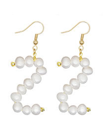 Fashion White Z Natural Freshwater Pearl Woven Alphabet Alloy Earrings