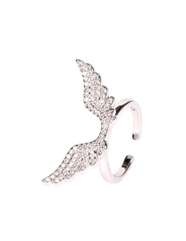 Fashion Silver Ring Micro-encrusted Diamond Angel Wings Gold-plated Necklace Earrings Ring