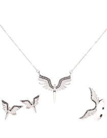 Fashion Silver Suit Micro-studded Angel Wings Necklace Ring Earrings