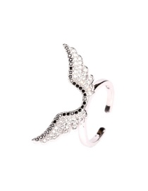 Fashion Silver Ring Micro-studded Angel Wings Necklace Ring Earrings