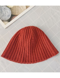 Fashion Red Bean Paste Knitted Striped Solid Color Fisherman Hat