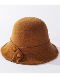 Fashion Caramel Pure Color Knitted Button Patch Wool Fisherman Hat