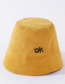 Fashion Yellow Corduroy Letter Embroidery Solid Color Fisherman Hat