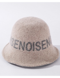 Fashion Beige Knitted Fisherman Hat With Wool Letters