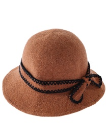Fashion Caramel Knitted Bow Wool Solid Color Fisherman Hat