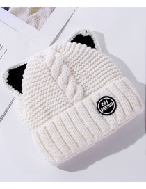 Fashion White Double Layer Plus Velvet Padded Knitted Cat Ears Woolen Hat