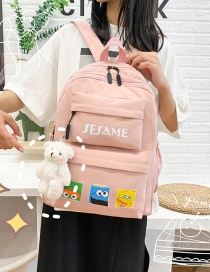 Fashion Pink Nylon Fabric Letter Print Backpack