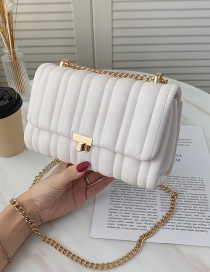 Fashion White Embroidery Line Rhombus Chain Shoulder Messenger Bag