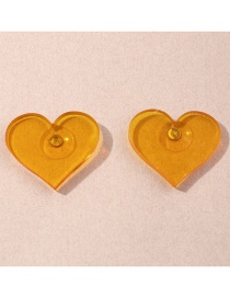 Fashion Yellow Love Resin Alloy Earrings