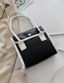 Fashion Black Contrasting Color Crocodile Print Shoulder Crossbody Bag