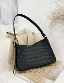 Fashion Black Crocodile Print Solid Color Single Shoulder Messenger Bag