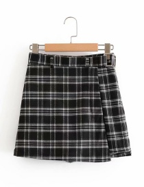 Fashion Black Thickened Irregular Plaid Skirt Shorts