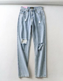 Fashion Blue Washed Hole Slim-fit Denim Trousers