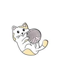 Fashion Kitten Yellow Yarn Cat Reading Book Cat Thread Ball Drip Oil Alloy Pin