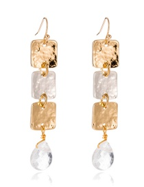 Fashion Golden Metal Square Long Transparent Crystal Pendant Earrings