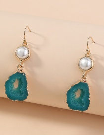 Fashion Green Bread Beads Shaped Edging Imitation Natural Stone Hollow Earrings