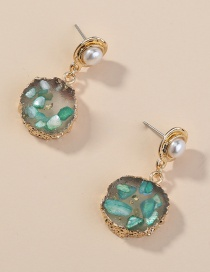 Fashion Green Shaped Edging Imitation Natural Stone Round Alloy Earrings
