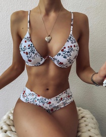 Fashion White Floral U-shaped Steel Ring High Waist Cross-piece Swimsuit