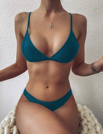 Fashion Green Triangle Solid Color Low Waist Split Swimsuit