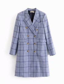 Fashion Blue Check Print Double-breasted Loose Coat
