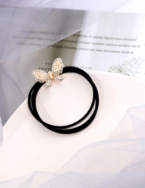 Fashion Golden Bowknot Pearl And Diamond Alloy Hair Rope