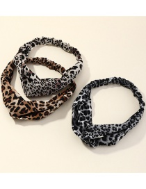 Fashion Color Mixing Leopard Print Cross Headband Set
