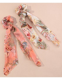 Fashion Suit Printed Floral Knotted Ribbon Silk Bowel Hair Rope