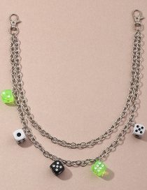 Fashion Silver Double Layer Dice Pendant Resin Alloy Waist Chain
