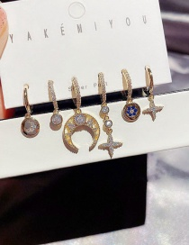 Fashion Real Gold Plated Crescent Moon Star Copper Inlaid Zircon Geometric Earring Set