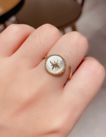 Fashion Real Gold Plated Natural Shell Rice Word Eight-pointed Star With Real Gold Plated Open Ring
