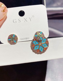Fashion Real Gold Plated Asymmetrical Colorful Round Copper Inlaid Zircon Earrings